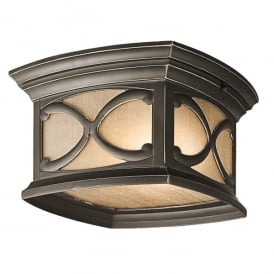 Franceasi 2 Light Flush Ceiling Light in Old Bronze Finish (Outdoor)