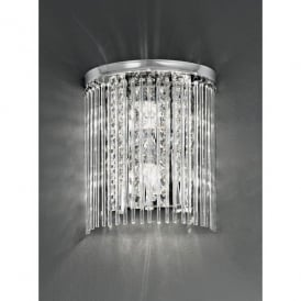 2 Light Bathroom Wall Fitting in Polished Chrome with Crystal Detail