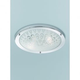 2 Light Flush Bathroom Ceiling Fitting In Polished Chrome Finish With Textured Frosted Glass
