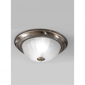 2 Light Flush Ceiling Fitting In Bronze Finish With Ribbed Acid Glass Shade
