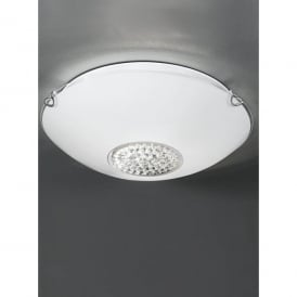 2 Light Flush Ceiling Fitting With Opal Glass Shade Crystal Decoration And Polished Chrome Detail