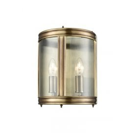 2 Light Half Wall Lantern in Bronze Finish with Clear Glass Panels