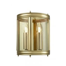 2 Light Half Wall Lantern in Polished Brass Finish with Clear Glass Panels