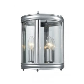 Indoor lantern lighting from castlegate lights 2 light half wall lantern in polished chrome finish with clear glass panels mozeypictures Image collections