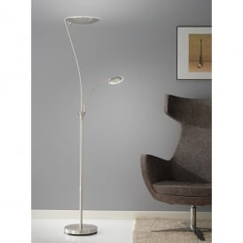 2 Light LED Mother And Child Floor Lamp In Satin Silver Finish