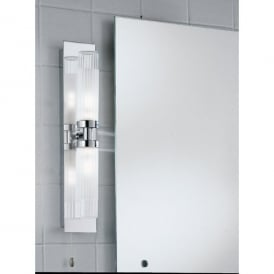 2 Light Switched Vertical Bathroom Wall Bracket in Polished Chrome