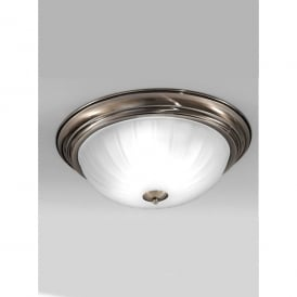 3 Light Flush Ceiling Fitting In Bronze Finish With Ribbed Acid Glass Shade