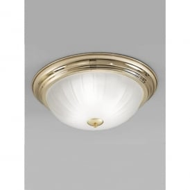 3 Light Flush Ceiling Fitting In Polished Brass Finish With Ribbed Acid Glass Shade