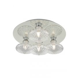 4 Light Semi Flush Bathroom Ceiling Fitting In Polished Chrome Finish With Clear Glass Shades