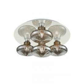 4 Light Semi Flush Bathroom Ceiling Fitting In Polished Chrome Finish With Smoked Glass Shades