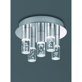 5 Light LED Bathroom Ceiling Fitting In Satin Nickel Finish