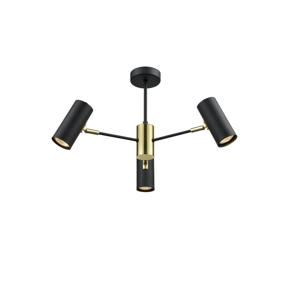 Aspect 3 light ceiling spotlight fitting in black and gold finish