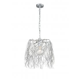 Aspen Single Light Large Ceiling Pendant in Polished Silver Finish