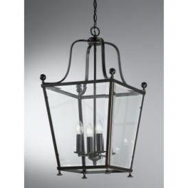Atrio 4 Light Indoor Lantern in an Antique Bronze Finish with Golden Highlights