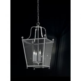 Atrio 4 Light Indoor Lantern with a Polished Chrome Finish