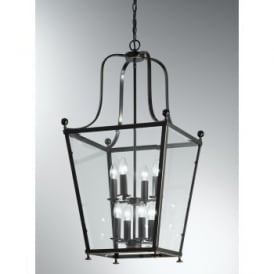 Atrio 8 Light Indoor Lantern in Antique Bronze with Gold Highlights