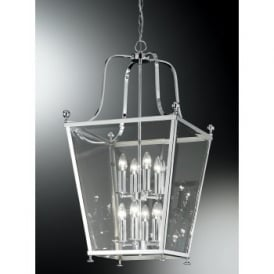 Atrio 8 Light Indoor Lantern with a Polished Chrome Finish