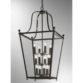 Atrio Large 12 Light Indoor Lantern in Antique Bronze with Gold Highlights