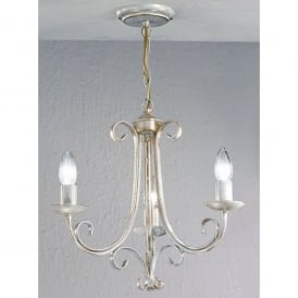 Babylon 3 Light Ceiling Fitting in White Brushed Gold