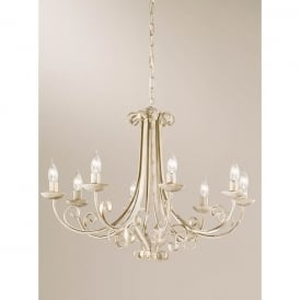 Babylon 8 Light Ceiling Fitting in White Brushed Gold