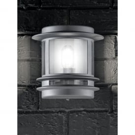 Barbican Single Light Flush Wall Fitting In Silver Grey Finish With Clear Polycarbonate Lens