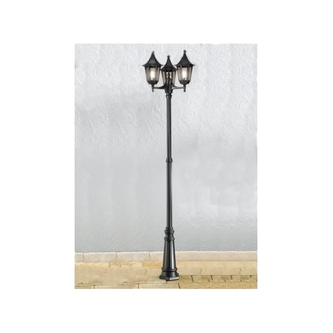 Franklite boulevard 3 light outdoor lamp post in black with smoked boulevard 3 light outdoor lamp post in black with smoked glass panels mozeypictures