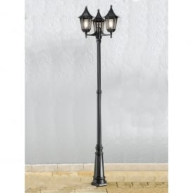 Boulevard 3 Light Outdoor Lamp Post in Black with Smoked Glass Panels