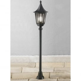 Boulevard Single Light Outdoor Post in Black with Smoked Glass Panels