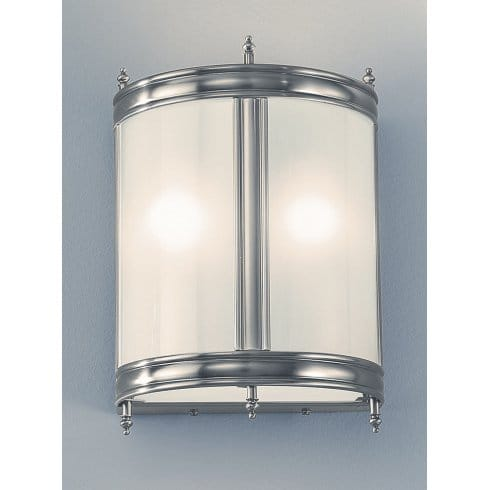 Franklite Cast Brass 2 Light Pewter-Finished Low Energy Wall Fitting with Glass Panels ...