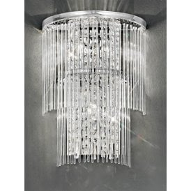Charisma 3 Light Wall Sconce in Polished Chrome with Crystal