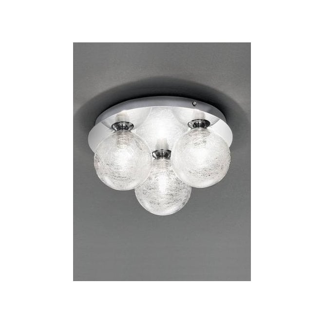 Franklite Circular Polished Chrome 3 Light Bathroom Ceiling Fitting With Glass Shades