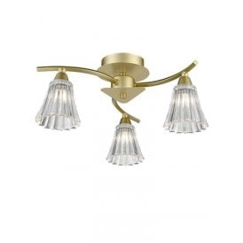 Clemmy 3 Light Semi Flush Ceiling Fitting In Matt Gold Finish With Clear Glass Shades