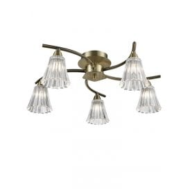 Clemmy 5 Light Semi Flush Ceiling Fitting In Bronze Finish With Clear Glass Shades