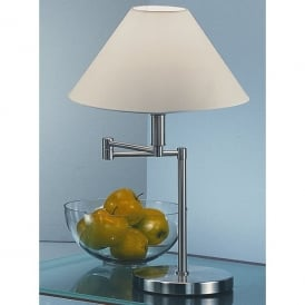 Contemporary Single Light Swing Arm Table Lamp in Satin Nickel