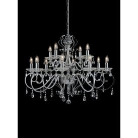 Damask 12 Light Chandelier In Polished Chrome Finish With Crystal Droplets