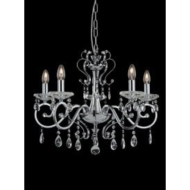 Damask 5 Light Chandelier In Polished Chrome Finish With Crystal Droplets