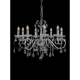 Damask 8 light Ceiling Chandelier In Polished Chrome Finish With Clear Crystal Droplets