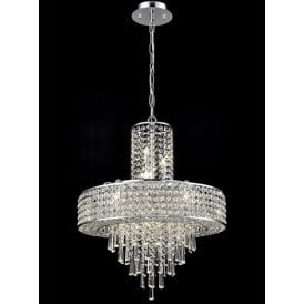 Duchess 12 Light Ceiling Pendant In Polished Chrome Finish With Clear Crystal Decoration