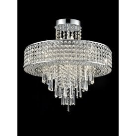 Duchess 12 Light Semi Flush Ceiling Fitting In Polished Chrome Finish With Clear Crystal Decoration