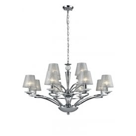 Elena 12 Light Ceiling Pendant In Polished Chrome Finish With Translucent Silver Shades