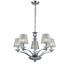 Elena 5 Light Ceiling Pendant In Polished Chrome Finish With Translucent Silver Shades