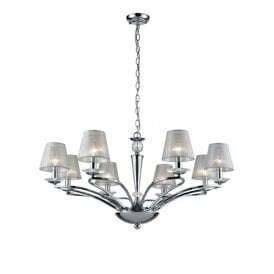 Elena 8 Light Ceiling Pendant In Polished Chrome Finish With Translucent Silver Shades