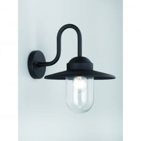 Exto Matt Black Single Light Outdoor Wall Fitting With Clear Glass Shade