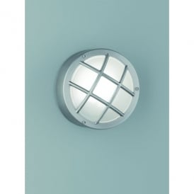 Exto Single Light Outdoor Bulkhead Wall Fitting In Stainless Steeel Finish With Satin Glass Shade