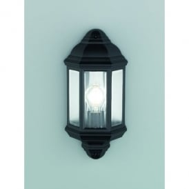 Exto Single Light Outdoor Flush Wall Fitting In Matt Black Finish With Clear Glass Panels