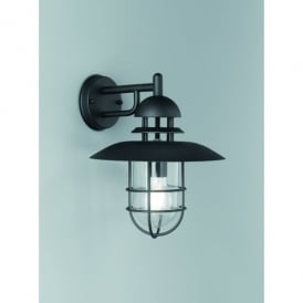Exto Single Light Outdoor Wall Fitting In Black Finish With Clear Glass Shade