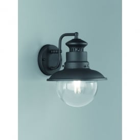 Exto Single Light Outdoor Wall Fitting In Matt Black Finish With Clear Glass Shade