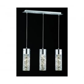 Frenzy 3 Light LED Tubular Ceiling Pendant In Polished Chrome And Clear Glass Finish