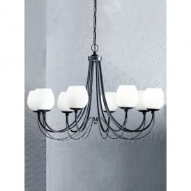 Gemini 8 Light Chandelier with Antique Bronze Iron and Opal Glass Shades