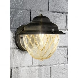 Giardino Single Light Outdoor Wall Fitting In Matt Black Finish With Brush Gold Highlights And Amber Glass Shade